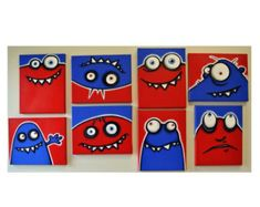 Items similar to rED and bLuE UgLiEs - set of 8 original paintings on multiple canvases for kids room or nursery, monster art, monster paintings on Etsy Mini Canvas Art, Blue Canvas, Monster Art, Monster Kindergarten, Painting For Kids, Art For Kids, Ben's Bells, Boy Decor, Art Lessons Elementary