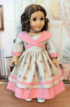 1854 Dress with Crossed Collar / Sash and by BabiesArtUs on Etsy My American Girl Doll, American Girl Crafts, American Doll Clothes, Ag Doll Clothes, Doll Clothes Patterns, Kids Dress Wear, Baby Dress Design, Girl Dolls, Girl Outfits