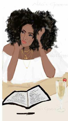 Champagne x book x afro = Good Night ~ Niki's Groove Art Black Love, Black Girl Art, Black Girls Rock, My Black Is Beautiful, Black Girl Magic, Art Girl, African American Art, African Art, Native American Indians