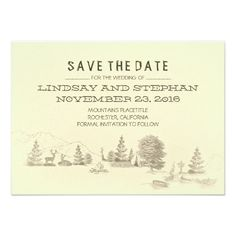 Campground Illustration Camping SAVE THE DATE card Rustic camping save the date card with scenic campground place - map. Fun and unique save the date for wedding in the woods, mountain wedding or camping wedding weekend. Woods, mountains far away, beautiful deer couple, little boat in the lake, old wooden road sign and your tent close to the campfire, for warmth and light at night. Please contact me if you need help with customization or have a custom color request.