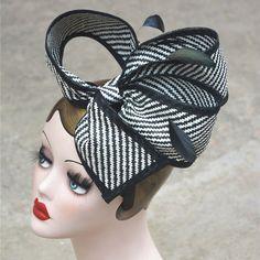 Retro Black Mix White Stripes Womens Sinamay Floral Bow Fascinator Party T163 | eBay
