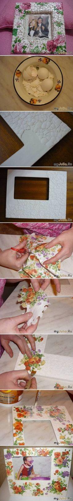 DIY Eggshell Mosaic Picture Frame DIY Eggshell Mosaic Picture Frame by diyforever