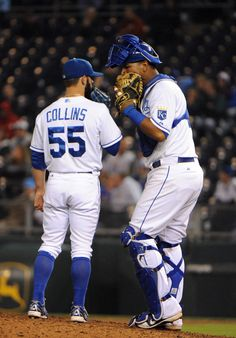 CrowdCam Hot Shot: Kansas City Royals relief pitcher Tim Collins talks to catcher catcher Salvador Perez in the ninth inning against the Cleveland Indians at Kauffman Stadium. Kansas City won the game 7-1. Photo by John Rieger