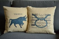 Taurus Zodiac Sign Pillows Pillow Covers and or by RoomCraft