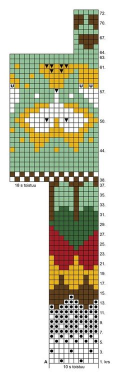 Utajärveläinen Pirjo Huovisen, 35, kettusukat äänestettiin ET:n syksyn villasukkakilpailussa yleisön suosikeiksi. Katso sukkien ohjeet artikkelin... Knitting Charts, Baby Knitting Patterns, Knitting Stitches, Knitting Socks, Crochet Patterns, Fair Isle Knitting, Tapestry Crochet, Crochet Chart, Stuffed Animal Patterns