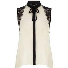 Lace shoulder shirt ($49) found on Polyvore