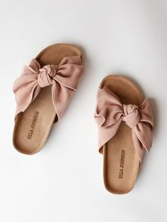 d6b4555336579 Handmade cork slide with whimsical knotted suede bow. Color- Rose Suede  Material- Leather upper