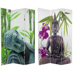 Ink jet print image on three panel decorative room divider. Primed canvas stretched on sturdy mitered wood frames. Divide a space, define a cozy nook, shade sunlight, or hide a messy area.