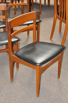 Item #J27c Set of Four Vintage Teak & Vinyl Dining Chairs c.1970s | Mccarneys Furniture