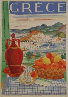Greece Greek Island of Poros Isle Europe Vintage Travel Advertisement Poster in Art, Art from Dealers & Resellers, Posters Old Posters, Vintage Advertising Posters, Retro Poster, Poster Ads, Vintage Travel Posters, Vintage Advertisements, Vintage Ads, Poster Prints, Vintage Type