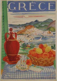 "VASSILIOU, SPYROS. "" Grece. Ile de Poros"". Greek painter and scenographer VASSILIOU, SPYROS.   Athens: General Secretariat of Tourism, 1948."