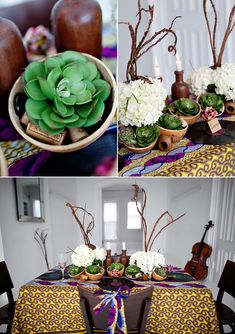 Hydrangea and succulent table centrepiece