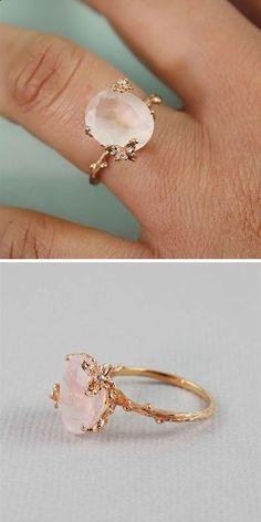 Rose Gold Oval Rose Quartz Ring More