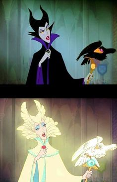 Disney Reverse: Maleficent/Beneficent or Benevolent? Best of Disney Art by ZHUY - Disney Pixar, Disney Animation, Disney Kunst, Disney Memes, Disney Fan Art, Disney Villains, Disney And Dreamworks, Disney Cartoons, Disney Love