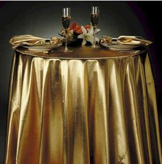 Add the final touch to your tablescape with our 90 inch round tissue lame overlay. It adds shimmer and shine to any event. Lame Fabric, Shiny Fabric, Romantic Table, Gold Lame, Linen Rentals, Graffiti Wall, Bath Rugs, Table Linens