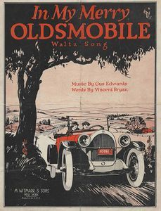 In My Merry Oldsmobile, with music by Gus Edwards and words by Vincent Bryan, was a popular song about a popular brand of turn of the 20th century automobile. The cover of the sheet music shows a man and a woman out for a drive through idyllic countryside. The lyrics reflect the connections that people made between the romance and the automobile. #American #Automotive