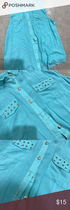 Studded Top Great condition. No flaws. Size large Tops Button Down Shirts