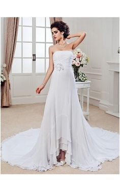 Sheath/ Column Strapless Chapel Train Chiffon Wedding Dress