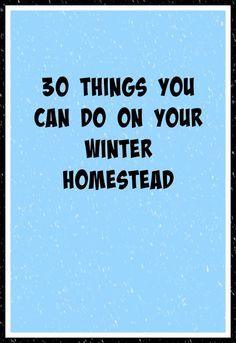Living Life in Rural Iowa: 30 Things You Can Do On Your Winter Homestead