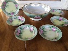 Haviland Limoges France Handpainted Signed Berry Bowl Set 7 Pcs Roses Antique