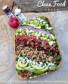 Clean+Eating+Autumn+Salad+with+Raspberry+Walnut+Dressing+http://cleanfoodcrush.com/autumn-salad/