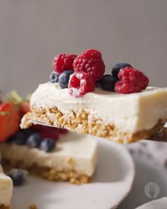 A delicious yoghurt based cheesecake with a granola crust. Serve with some fresh berries or any frui Delicious Cake Recipes, Yummy Cakes, Sweet Recipes, Baking Recipes, Cookie Recipes, Dessert Recipes, Sushi Recipes, Gourmet Desserts, Plated Desserts