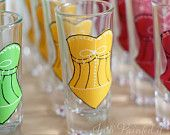 School bus yellow corset double shot glass.  FREE personalization and dishwasher safe