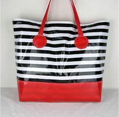 "Beach Bag ""Onda"" Black and White Stripe"