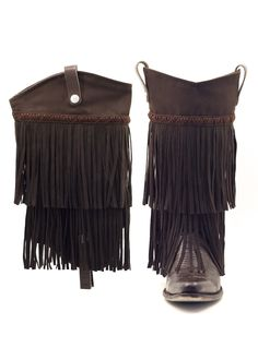 A fun and flirty look, the BootRoxx Fringe is a stand-out! Two layers of fringe finished with braided embellishing give your pair of cowboy boots new life. Fringe Cowboy Boots, Cowgirl Boots, Cute Shoes Boots, Shoe Boots, Fringe Braid, Boot Toppers, Fringe Fashion, Brown Boots, Braids