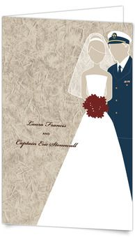 Half-fold Wedding Invitations - Military Themed - Coast Guard (USCG)  This romantic silhouette of a lovely bride and her Coast Guard groom shows that love really can conquer all. As a rice paper background gives this design soft texture, your guests will be truly touched by your military Wedding Invitation!