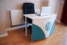 VW Camper Van Desk tribute - NEW - White Blue gloss office desk - Themed | eBay