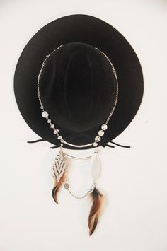 the perfect boho hat and feather necklace. handmade with love in the shop now. Tribal Silver Ladder Necklace w/ Feather & by ClassicRockCouture