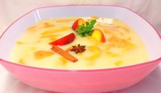 Őszibarackleves 🍑 Cheeseburger Chowder, Mashed Potatoes, Bacon, Food And Drink, Soup, Cooking Recipes, Pudding, Ethnic Recipes, Desserts