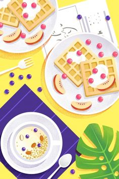 western style,dessert,baking,fruit,waffles,oat,breakfast,food,illustration,hand painted Dessert Illustration, Graphic Design Illustration, Illustration Art, Cute Food Drawings, Posca, Illustrations And Posters, Animal Tattoos, Prints For Sale, Food Art