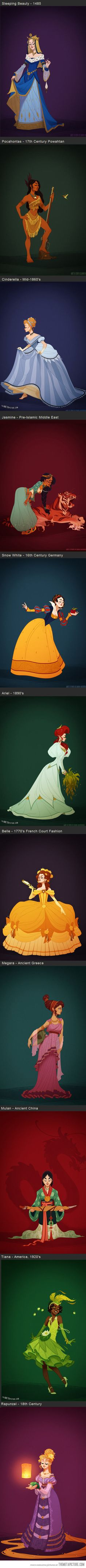 Disney Princesses in accurate period costume. I love all except Rapunzel... Why does she look so dang English Regency...?