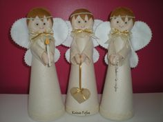 """Centros de mesa """"Trio de Anjos""""                                                @koisasfofasfeltros"""