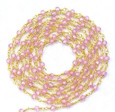 5 Feet Pink Zircon Faceted Beads 3 mm Rosary by Sunrisegemstone