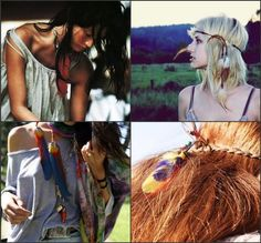 Boho headpiece DIY. I will have some fun with this idea...