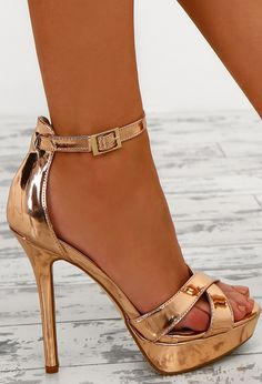 Game of Chromes Rose Gold Peep Toe Platform Heels