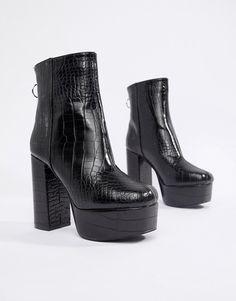 70216e83a4f Public Desire black croc effect platform boots at asos.com