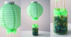 Create a whimsical hot air balloon centerpiece with $1 supplies from Dollar Tree to match your upcoming summer party theme!