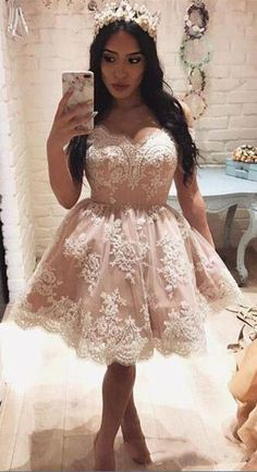 18ef13491a Cute Off The Shoulder A-line Short Pink Lace Homecoming Dress PG143   homecoming