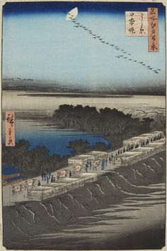 Utagawa Hiroshige (1797-1858) Two ôban. Series: Meisho Edo hyakkei. Signed: Hiroshige ga. Publisher: Uoya Eikichi. Censor: aratame. Date: 2/1856 and 4/1857. a) Title: Tamagawa zutsumi no hana. Cherry blossom viewing. b) Title: Yoshiwara Nihonzutsumi. Visitors of Yoshiwara. (2) Good and very good impressions, colours somewhat faded, a) margins thin and damaged, binding holes in left margin, repairs, mounted in mat, b) margins trimmed and partially replaced.