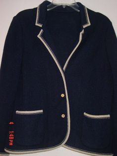 Vtg Cardigan Sweater  Knit Jacket Classic Navy Blue Blazer Crown Buttons