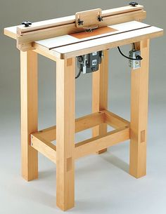 Router Table. This is how a standard routing table is set out. Specifically, this is a PORTABLE router that is inserted on the underneath side of this table. This is a small, homemade router table.