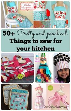 Diy Sewing Projects More than 50 pretty and practical things to sew for the kitchen. - Free sewing patterns and picture tutorials for fabulous things to sew for your kitchen. Apron sewing patterns and table decorations. Color your kitchen Small Sewing Projects, Sewing Projects For Beginners, Sewing Hacks, Sewing Tutorials, Sewing Crafts, Sewing Tips, Sewing Basics, Sewing Aprons, Diy Couture