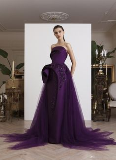 Azzi&Osta Purple Stylish African Dubai Evening Dresses Strapless Beaded Sequins Prom Dresses Satin Tulle Formal Party Bridesmaid Gowns – Famous Last Words Lavender Prom Dresses, Sequin Prom Dresses, Elegant Dresses, Beautiful Dresses, Couture Dresses, Fashion Dresses, Couture Mode, Couture Fashion, Looks Style