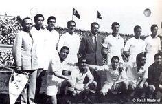 8th Spanish Cup 1946: Pruden scores nine goals in the tournament and leads Real Madrid to glory ten years after their last Cup title. Echániz (delegado), Ipiña, Belmar, Pruden, Quincoces (entrenador), Huete, Clemente y Barinaga. Agachados: Moleiro, Elices, Alsúa I, Corona y Bañón