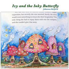 Finalmente concluí meus cogumelinhos fofos, amei essa ilustração - do novo Livro da Johanna Basford - Ivy and The Inky Butterfly  @Johannabasford