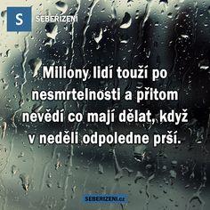 Miliony lidí touží po nesmrtelnosti a přitom nevědí co mají dělat, když v neděli odpoledne prší.